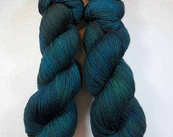 Hand Dyed Superwash Merino and Nylon 4-Ply Sock Fingering Yarn -- Mallard