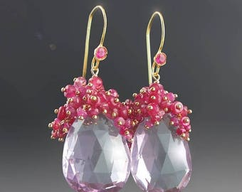 20% OFF - 18k Gold Pink Amethyst Earrings with Pink Spinel, Pink Sapphires, and Ruby
