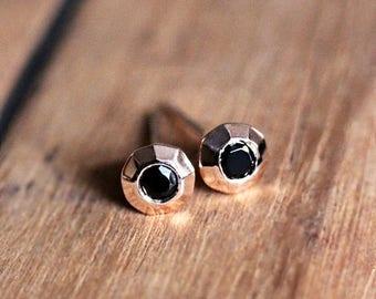 Rose gold stud earrings, black spinel earrings, 14k rose gold earrings, modern stud earrings rose gold, tiny stud earrings gold, black pink