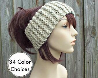 Knitted Headband in Oatmeal - Oatmeal Headband Oatmeal Earwarmer Womens Headwrap - Knit Accessories - 34 Color Choices