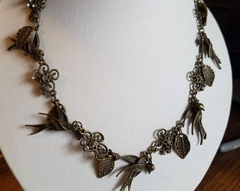 Birds and Swarovski Crystal Bronze Necklace