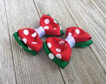 Hair Bows,Christmas Hair Bows,Polka Dot Hair Bows,2.5 Inch Hair Bows,Pigtail Hair Bows,Alligator Clip Hair Bows