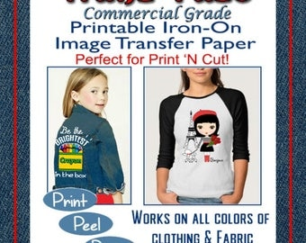 Tranz-Fuze Commercial Grade Fabric Transfer Sheets Bright Saturated INKJET printed images Print n Cut Cricut Use Heat Press or Home Iron