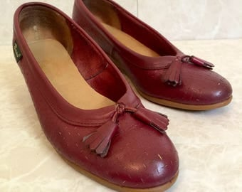Maroon Leather Bass Wedges with Tassels- 1970s- Size US 7 UK 4.5 EU 37.5