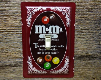 M&Ms Collectibles Tins Switch Cover Plate Switchplate Made From An Old Tin Can Recycled Decor Unique Housewares SP-0370