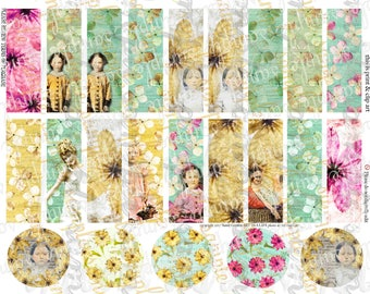ART TEA LIFE Bloomers Collage Sheet Scrapbook Tags Strips circles bands charm card journal decoupage sticker label slides printable download