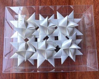 German Paper Origami Star Ornament Sculpture (3 inch, Shimmer Quartz)