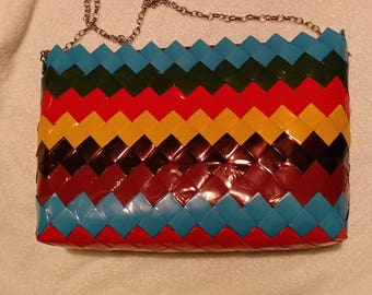 Vintage Retro Upcycled Wrappers Purse Blue Black Red Yellow