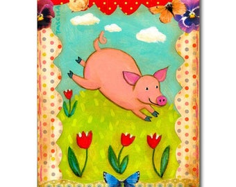 Pig Folk Art Pig Run Free ORIGINAL painting sweet piggy mixed media wall art Friends not Food vegan nursery wall art baby