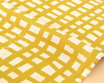 Japanese Fabric 100% linen grid - mustard -  50cm
