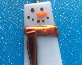 Modern Fused Glass Snowman Ornament with Dichroic Scarf