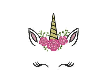 Machine Embroidery Camellia Unicorn Face Machine Embroidery File design 5x7 inch hoop