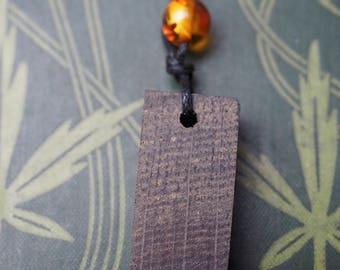 Ancient Irish Bog Oak & New Amber Pendant -  On cord - Pagan, Druid, Wicca, Witchcraft, Celtic