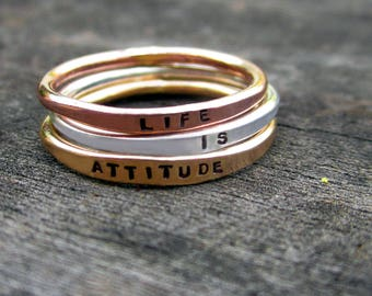 Mixed Metals Hand Stamped Stacking Set by donnaodesigns