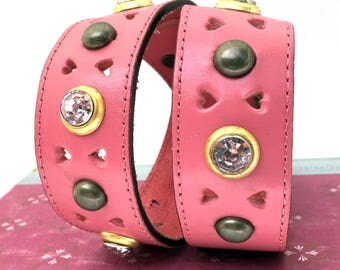 Pink Leather Dog Collar with Hearts, Rhinestones and Golden Metal Accents, Size M/L, to fit a 17-20 in Neck, Full Grain Leather Collar, OOAK