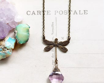 S o a r...Light Amethyst necklace, dragonfly brass connector, boho, Crown chakra, layering necklace Etsy Gifts for Her FREE SHIPPING