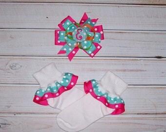 Aqua Dot and Shocking Pink Dot Large Layered Hair Bow and/or Double Ribbon Ruffled Socks Set - Matches Back to School Shirt
