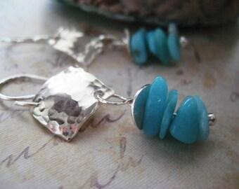 Amazonite Earrings, Sterling Silver, Textured Metal, Brazillian Gem, Genuine Amazonite, candies64