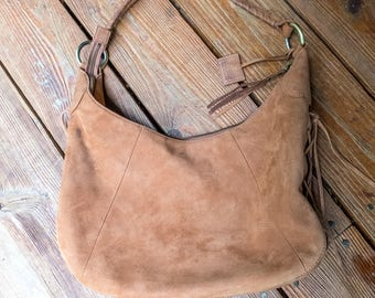 Via Spiga Boho Leather Bag | Tan Leather Hobo Bag | Boho Hippie | Large Tan Suede Purse | Large Leather Tote | Suede Lace Leather Boho Bag