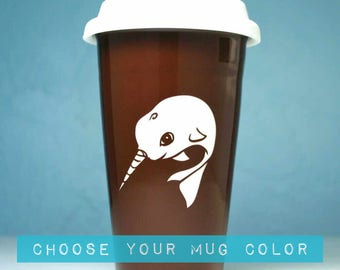 Narwhal Travel Mug - insulated lidded coffee cup