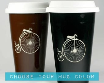Penny Farthing Bicycle Travel Mug -  velocipede bike coffee cup
