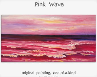 Original abstract painting Sea art Sunset Pink Beach Wave on gallery wrap canvas oil painting home art by tim Lam 48x24
