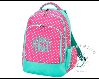 Dottie Monogrammed Backpack, Matching Set, Personalized School Bags for Girls, Hot Pink and Mint Bookbags for kids, polka dot backpack