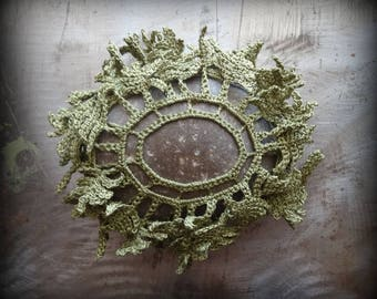 Sprouting Fern Stone, Crocheted Lace Stone, Original, Handmade, Unique, Gift, Table Decoration, Collectible, Green, Monicaj