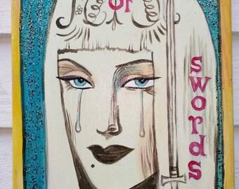 Queen of Swords,  Dame Darcy Mermaid tarot,  painting