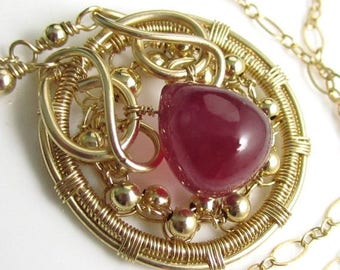 SUMMER SALE The Ruby Amulet - Smooth Natural Ruby and 14k Gold Fill Necklace