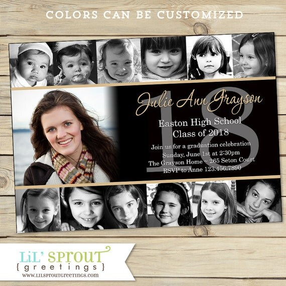 Collage style graduation announcement invitation print your own by il570xn m4hsunfo