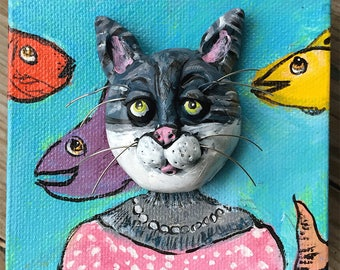 Fish Thief Funny Cat Art - OOAK Cat Art - Original Tiger Cat Painting - Tabby Cat Painting - Cat with Fish - Gift for Cat Lover - Cat Gift