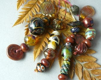 Lampwork beads/SRA lampwork beads/beads/handmade lampwork/glass beads/ designer set/earthy/neutral/fall/organic/