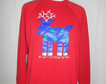 Closing Shop 40%off SALE Christmas  Deer sweatshirt  Reindeer Winter Sweater          art