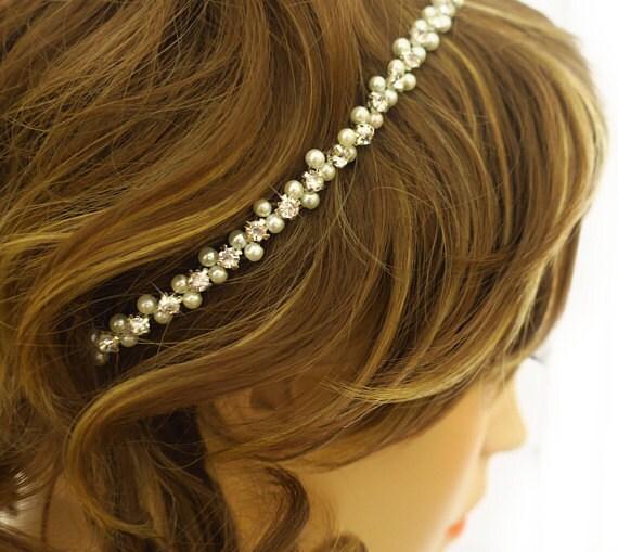 thin bridal headband, pearl and crystal headband
