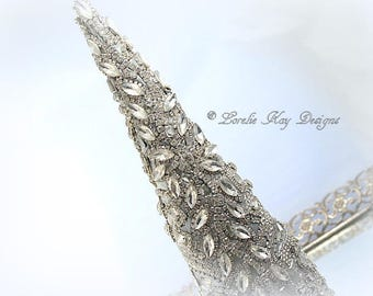 Rhinestone Jewelry Crystal Christmas Tree Sculpted One-of-a-kind Mixed Media Holiday Decoration Lorelie Kay Original