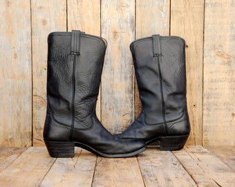 Us 9.5, Uk 9, Eu 42, Black Cowboy Boots, Black Western Boots, Black Leather Boots, USA, Leather Cowboy Boots, Leather Sole Boots