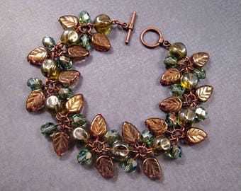 Copper Charm Bracelet, Autumn Iridescence, Nuggets Leaves and Faceted Glass Beaded Bracelet, FREE Shipping U.S.
