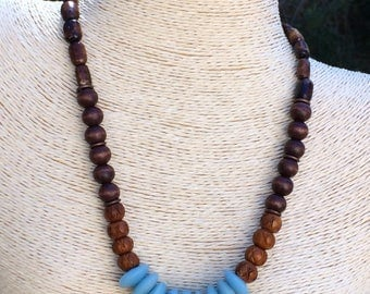African Sandcast  and Bone Bead Choker Necklace