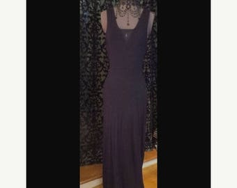 30% OFF Floor Length Black Sleeveless Dress w/Peekaboo Sheer Fabric, Size Small, Gothic Witchy