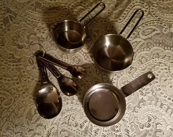 SALE Vintage Set of Stainless Measuring Cups and Spoons