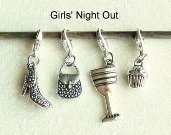Progress Keepers, Removable Stitch Markers, Knitting Markers, Crochet Markers, Zipper Pull Charms - Set of 4 - Girls Night Out