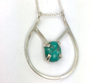 Geometric Silver Necklace - Turquoise Necklace - Layering Necklace - Boho Necklace - Gemstone Necklace -Everyday Blue Stone Jewelry - N2103