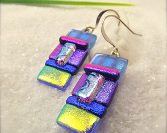 Dichroic glass earrings, artisan jewelry, unique jewelry, fused dichroic earrings, trending now, artisan dichroic, statement earrings