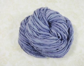 Handspun Yarn Bulky Thick and Thin Merino Wool 90 yards dusty purple lavender
