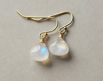 Rainbow Moonstone Earrings, Gold Moonstone Jewelry, June Birthstone Jewelry, Moonstone Jewellery, Rainbow Moonstone Briolette Earrings
