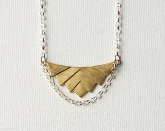 Brass Geometric Necklace, Brass Chevron Pendant Necklace, Geometric Statement Jewelry, Modern Brass Jewelry, Mixed Metal Jewellery