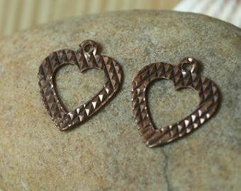 80 pcs Antique copper heart dangle 12x11mm (item ID B-ACHD12x11)