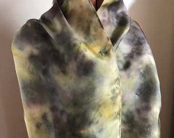 Hibiscus Flower and Goldenrod naturally dyed silk scarf