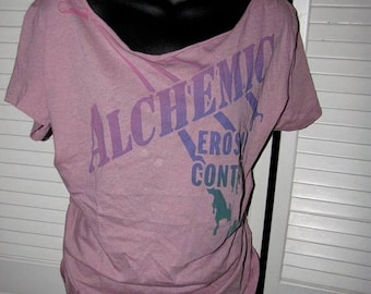 snip snip its my birthday Alchemic Erosion Control Diesel backless shredded mauve pink purple t shirt size extra large L XL
